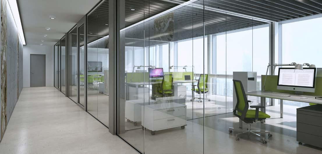 presklené systémy interiérových stien