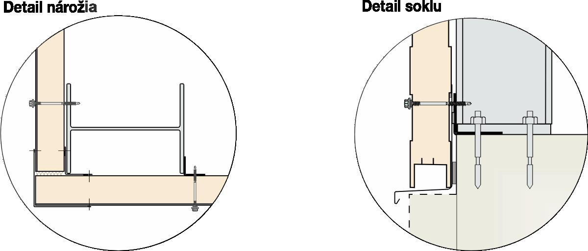 detail nárožia a soklu montovanej haly